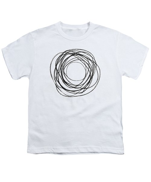 Black Doodle Circular Shape Youth T-Shirt by GoodMood Art