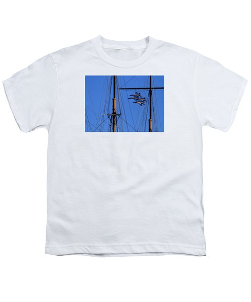 Blue Angels Pass Behind Masts Of The Balclutha At Hyde Street Pier Youth T-Shirt