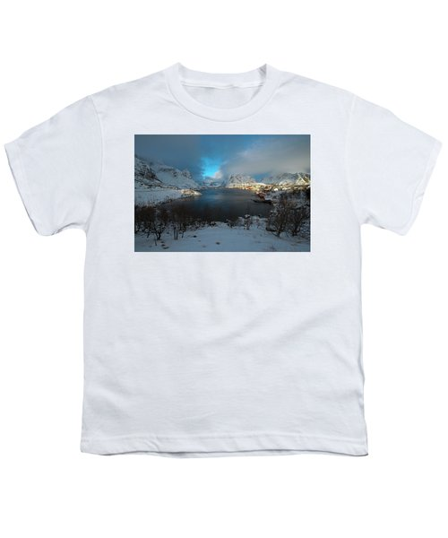 Blue Hour Over Reine Youth T-Shirt by Dubi Roman