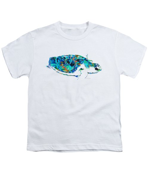 Blue Sea Turtle By Sharon Cummings  Youth T-Shirt