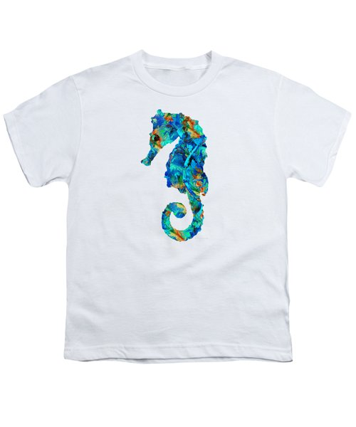 Blue Seahorse Art By Sharon Cummings Youth T-Shirt by Sharon Cummings