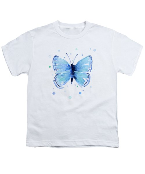 Blue Watercolor Butterfly Youth T-Shirt