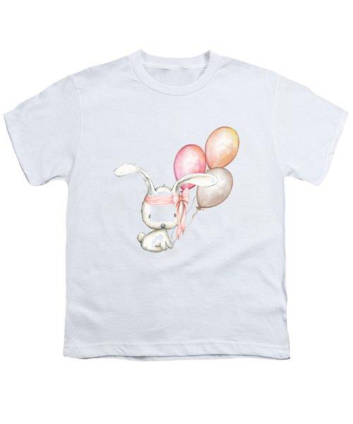 Boho Bunny With Balloons Youth T-Shirt