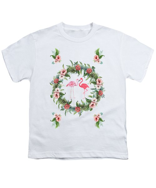 Boho Floral Tropical Wreath Flamingo Youth T-Shirt