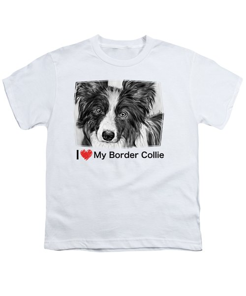 Border Collie Stare Youth T-Shirt