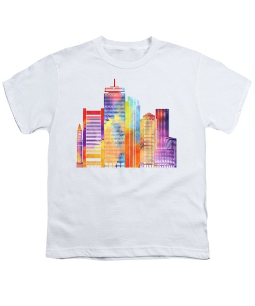Boston Landmarks Watercolor Poster Youth T-Shirt by Pablo Romero