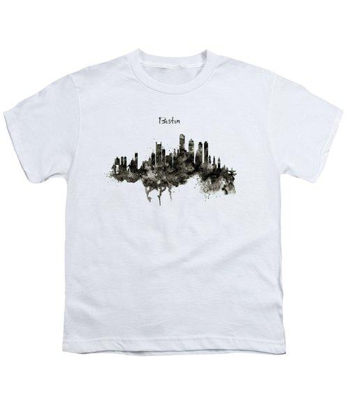 Boston Skyline Black And White Youth T-Shirt
