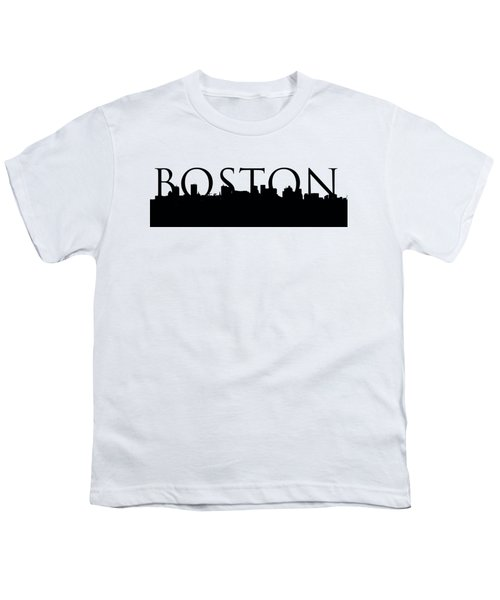 Boston Skyline Outline With Logo Youth T-Shirt by Joann Vitali