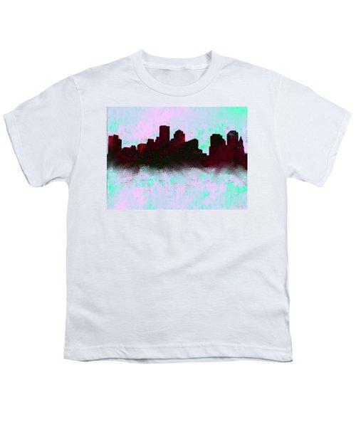 Boston Skyline Sky Blue  Youth T-Shirt