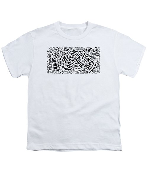 Boston Subway Or T Stops Word Cloud Youth T-Shirt by Edward Fielding