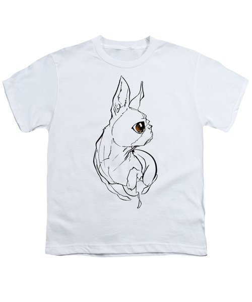 Boston Terrier Gesture Sketch Youth T-Shirt