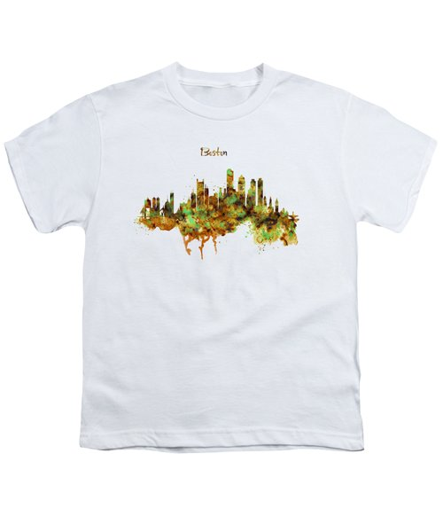 Boston Watercolor Skyline Youth T-Shirt by Marian Voicu