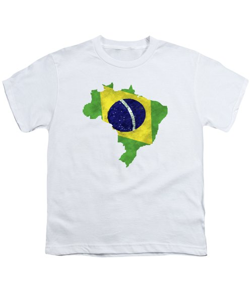 Brazil Map Art With Flag Design Youth T-Shirt by World Art Prints And Designs
