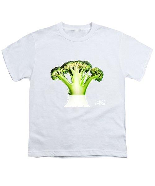 Broccoli Cutaway On White Youth T-Shirt by Johan Swanepoel