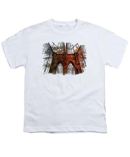 Brooklyn Bridge Earthy Rainbow 3 Dimensional Youth T-Shirt by Di Designs