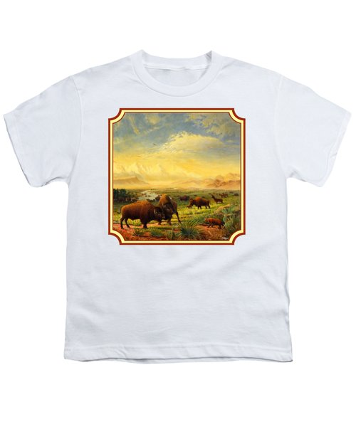Buffalo Fox Great Plains Western Landscape Oil Painting - Bison - Americana - Square Format Youth T-Shirt by Walt Curlee