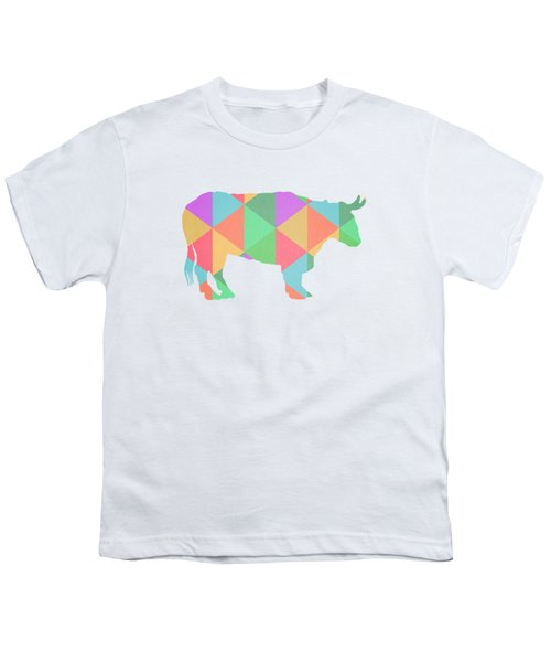 Bull Cow Triangles Youth T-Shirt by Edward Fielding
