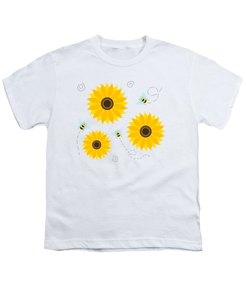 Busy Bees And Sunflowers - Large Youth T-Shirt