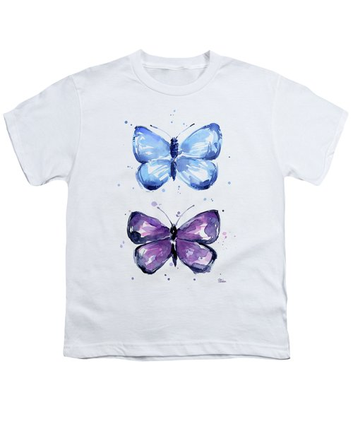 Butterflies Blue And Purple  Youth T-Shirt