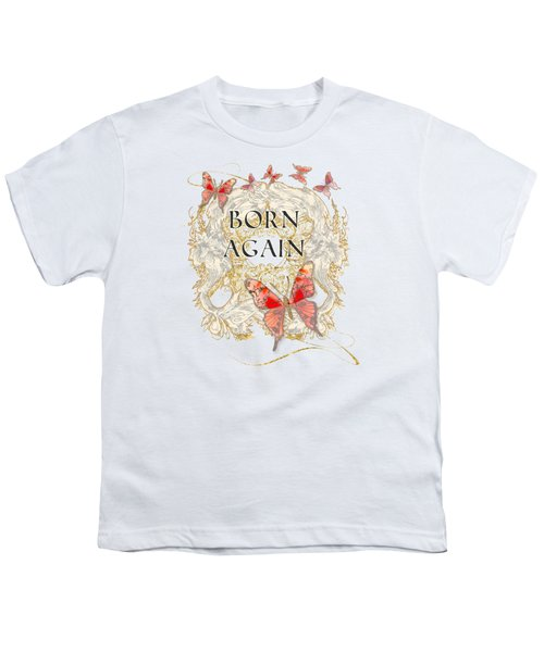Butterfly Butterflies Swirling Born Again Christian Symbol Youth T-Shirt by Audrey Jeanne Roberts