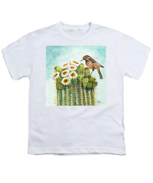 Cactus Wren And Saguaro Youth T-Shirt