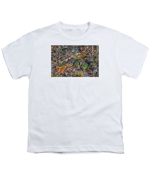 Camouflaged Plumage With Fallen Leaves Youth T-Shirt by Asbed Iskedjian