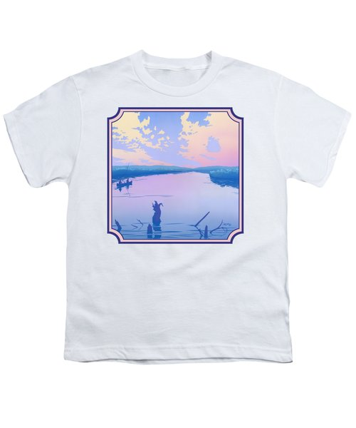 Canoeing The River Back To Camp At Sunset Landscape Abstract - Square Format Youth T-Shirt