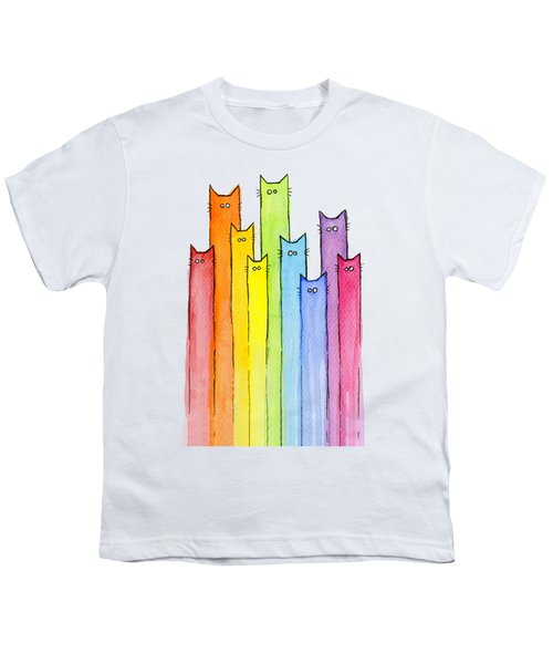Cat Rainbow Pattern Youth T-Shirt by Olga Shvartsur