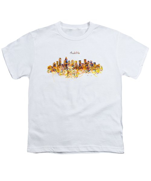 Charlotte Watercolor Skyline Youth T-Shirt by Marian Voicu
