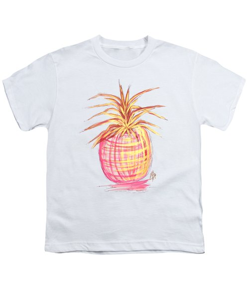 Chic Pink Metallic Gold Pineapple Fruit Wall Art Aroon Melane 2015 Collection By Madart Youth T-Shirt by Megan Duncanson