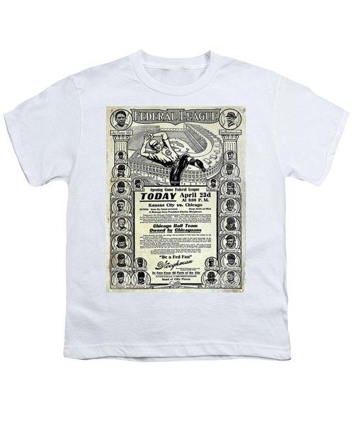 Chicago Cub Poster Youth T-Shirt by Jon Neidert