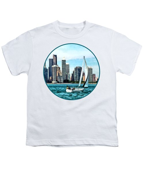 Chicago Il - Sailboat Against Chicago Skyline Youth T-Shirt by Susan Savad