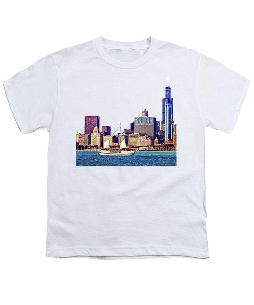 Chicago Il - Schooner Against Chicago Skyline Youth T-Shirt by Susan Savad