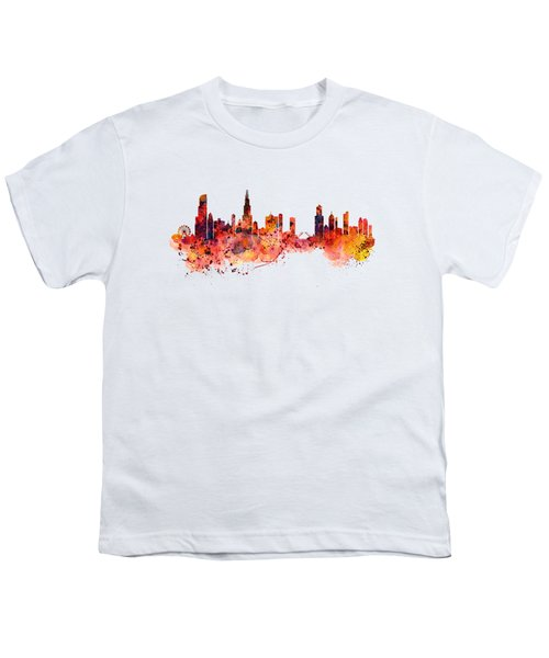 Chicago Watercolor Skyline Youth T-Shirt by Marian Voicu