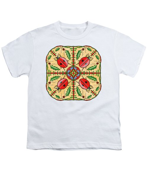 Christmas Ladybug Mandala Youth T-Shirt by Tanya Provines