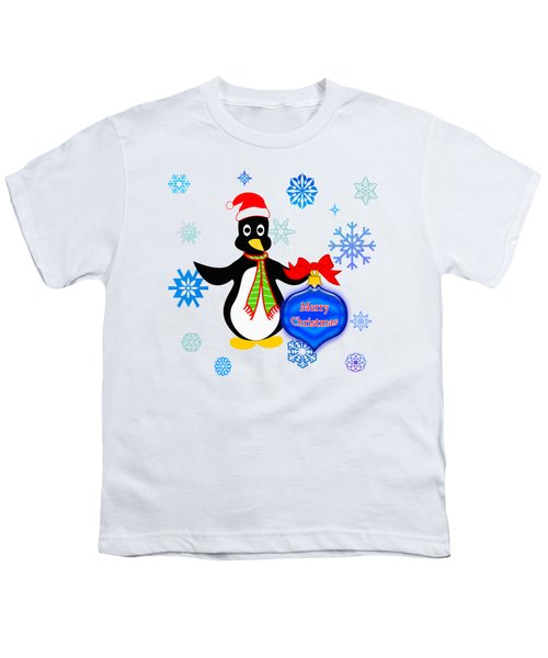 Christmas Penguin Youth T-Shirt by Methune Hively