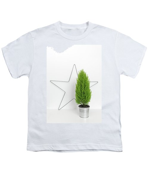 Christmas Star And Little Green Tree Youth T-Shirt by GoodMood Art