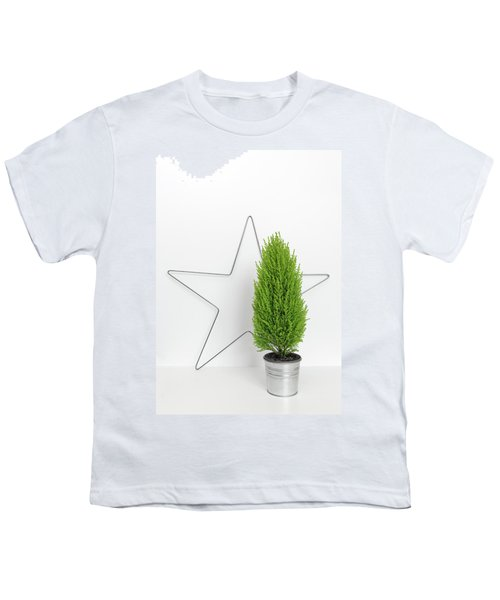 Christmas Star And Little Green Tree Youth T-Shirt