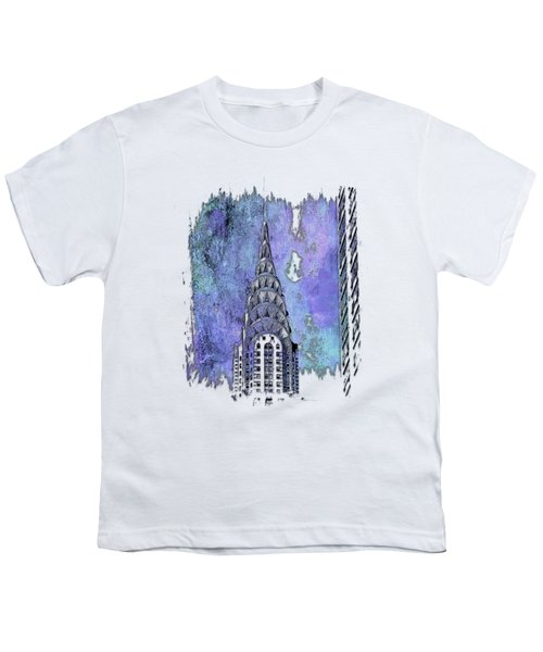 Chrysler Spire Berry Blues 3 Dimensional Youth T-Shirt by Di Designs