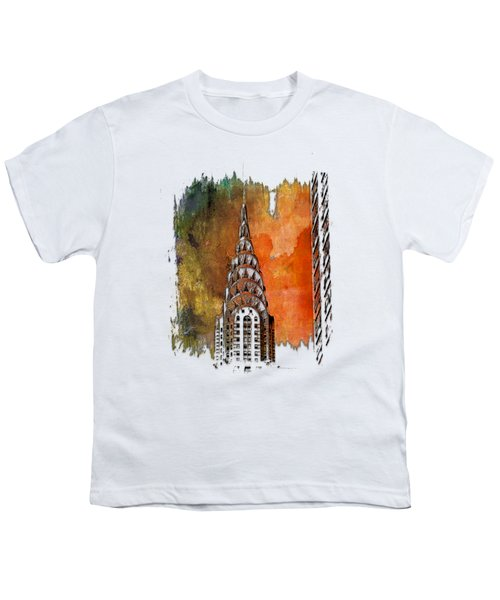 Chrysler Spire Earthy Rainbow 3 Dimensional Youth T-Shirt by Di Designs