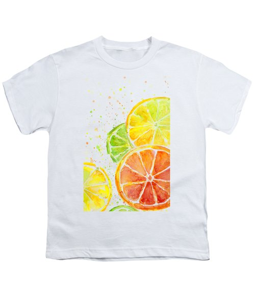 Citrus Fruit Watercolor Youth T-Shirt by Olga Shvartsur