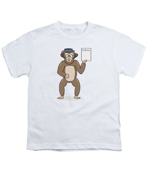 Clever Monkey With Diploma Youth T-Shirt