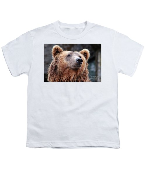 Youth T-Shirt featuring the photograph Close Up Bear by MGL Meiklejohn Graphics Licensing