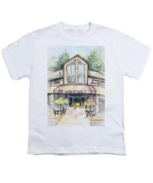 Coffee Shop Watercolor Sketch Youth T-Shirt by Olga Shvartsur