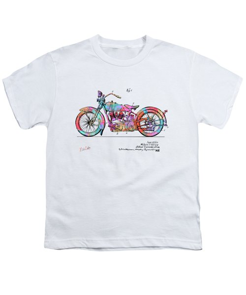 Colorful 1928 Harley Motorcycle Patent Artwork Youth T-Shirt