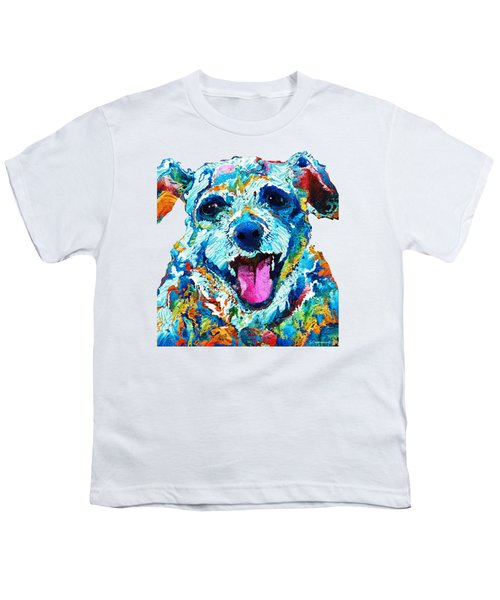 Colorful Dog Art - Smile - By Sharon Cummings Youth T-Shirt by Sharon Cummings