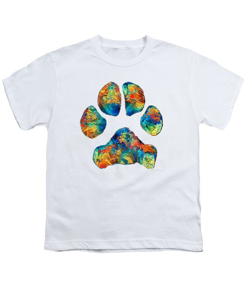 Colorful Dog Paw Print By Sharon Cummings Youth T-Shirt by Sharon Cummings