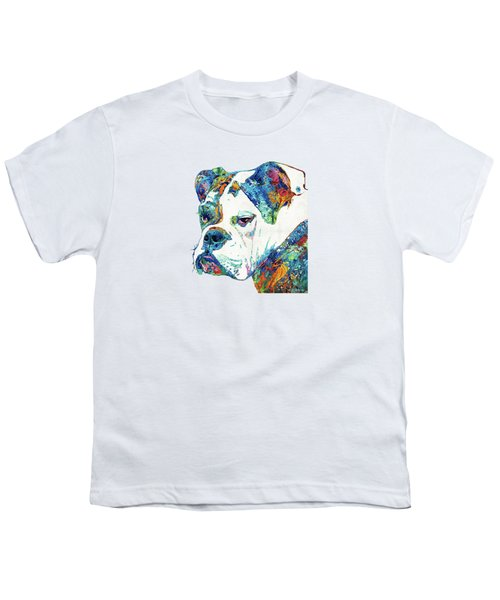 Colorful English Bulldog Art By Sharon Cummings Youth T-Shirt by Sharon Cummings
