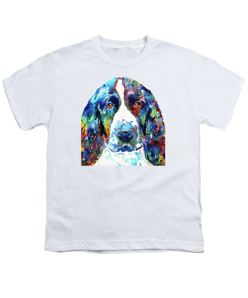 Colorful English Springer Spaniel Dog By Sharon Cummings Youth T-Shirt by Sharon Cummings