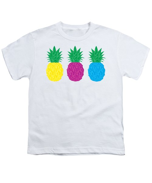 Colorful Pineapples Youth T-Shirt by Leah Hawkins
